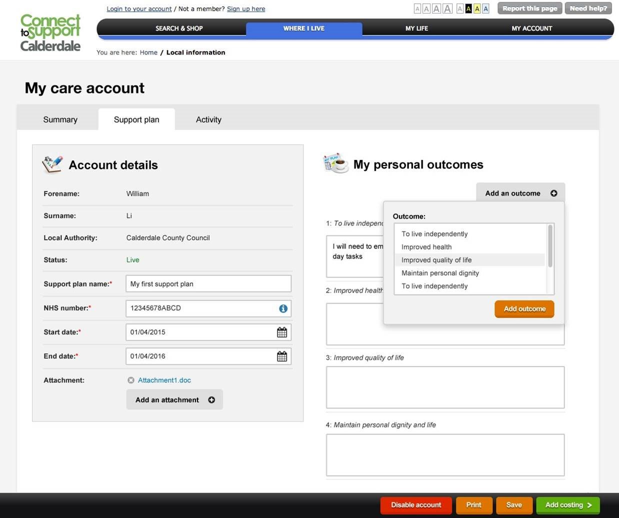 Care Account interface