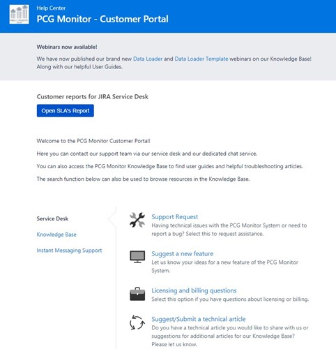 PCG Monitor Customer Portal